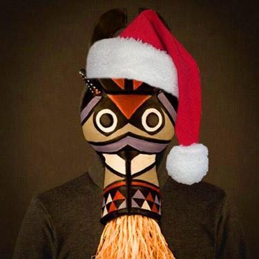SBTRKT in a santa hat
