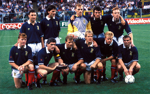 Scotland team before playing Sweden in the 1990 World Cup